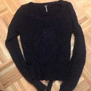 Black scoop neck free people sweater.